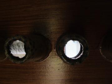Light passing through cardboard spools / viewfinder.