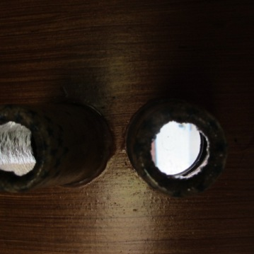 Light passing through cardboard spools / viewfinder.