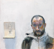 Self portrait with flyer, oil on canvas, 21 x 23 cm, 2015
