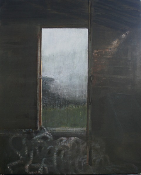 Folding into fog, Egg tempera on gesso panel, 45 x 56 cm, 2009