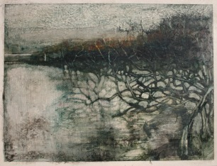 Lake, egg tempera and wax on gesso panel, 72 x 55 cm, 2009
