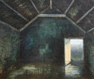 Out-house, Moorland, Egg tempera on gesso panel, 33 x 28 cm, 2009