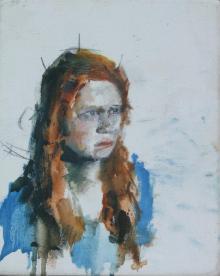 Female sitter, study, oil on canvas, 14 x 19 cm, 2015
