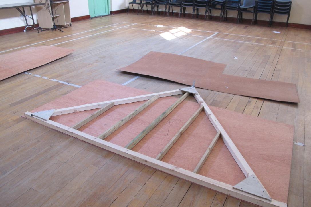 Construction of hip roof. Ballycroy community hall.