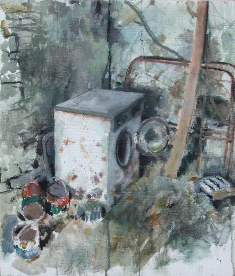 Banjaxed washing machine, oil on linen, 26 x 31 cm, 2011