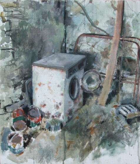 Banjaxed washing machine, oil on linen, 26 x 31 cm, 2011