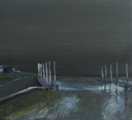 Boathouse, egg tempera on gesso panel, 25 x 25 cm, 2010
