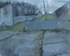 Disused mill,oil on gesso panel, 45.5 x 55 cm,