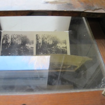 Stereocsopic slides via light box on top of stereoscope, Sanctuary Wood Museum (Hill 62), Zillebeke, Ypres.,