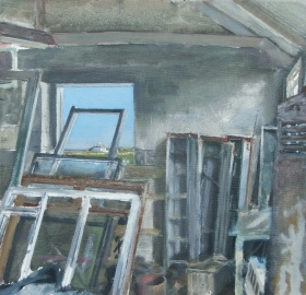 Old Joinery, oil on linen, 25.5 x 25.5 cm, 2011