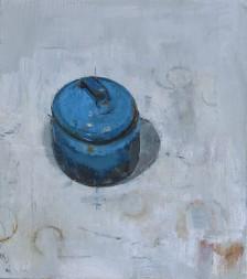 Blue pot, oil on linen, 46 x 41 cm, 2017
