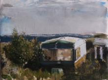 Caravan, oil on linen, 46 cm x 33 cm, 2016, Aidan Crotty