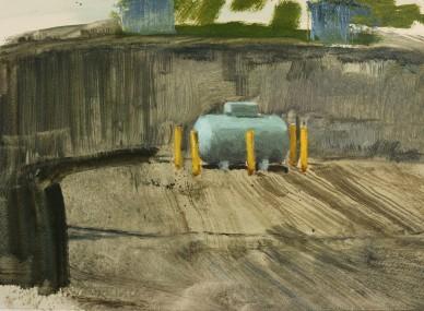 L.p.g. cylinder, oil on prepared paper, 26 x 35 cm, 2017
