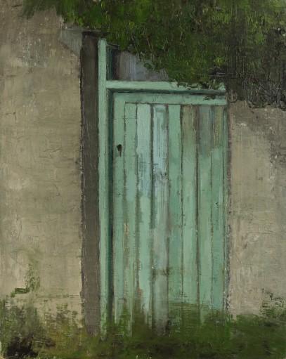 Green door, 30 x 24cm, oil on linen