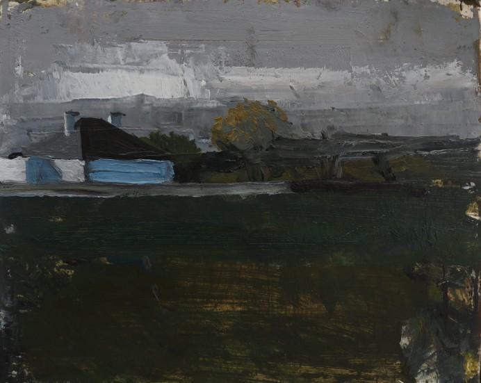 Seamus's House, oil on prepared paper on panel, 2019