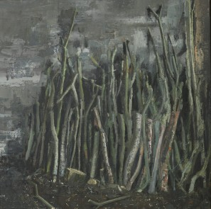 Wood-stack, oil on canvas, 50 cm x 50 cm, 2019