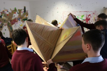 Experimenting with assemblage - workshop with students from St. Colemans, Claremorris.