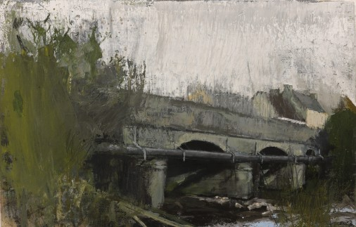 Bridge with wastewater pipe, oil on linen 40 x 62 cm